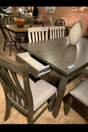 🍻39 DOWN🍻Brand New 6-Piece Gray Dining Set.[ Table & 4 Side Chairs & Bench ] for Sale in Houston, TX
