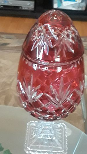 OFNAH Irina Hand Cut Clear to Crystal Cranberry Lidded Egg for Sale in Land O Lakes, FL