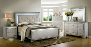 Glam style LED queen bed frame $399 king $489 bedroom set available $1199 for Sale in La Palma, CA