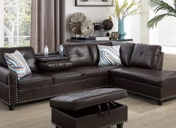 ersen Faux Leather Left Hand Sofa & Chaise W/ottoman for Sale in Valley Stream,  NY