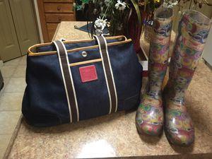 Coach denim handbag and size 10 coach rain boots. for Sale in Columbus, OH