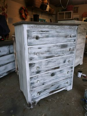 Farmhouse / Rustic Tall Boy Farmhouse Dresser solid wood! 35W x 45H x 17.5D -Delivery is available! for Sale in Joliet, IL