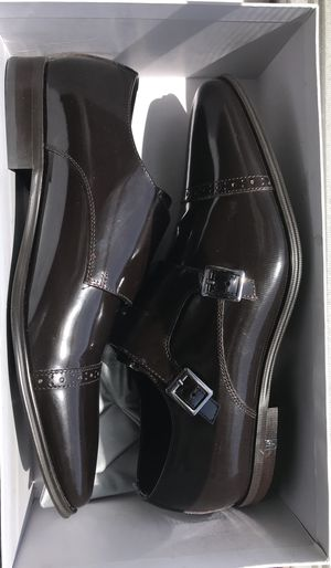 Brand new never worn authentic Versace mens shoes dark brown. Buckle. Size 44. for Sale in Aventura, FL
