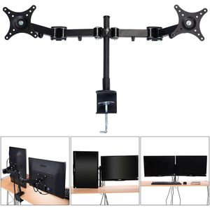 "CW Dual Monitor Arm Desk Table Mount Stand For 2 LCD Fully Swivel Clamp up to 27"" for Sale in Chino, CA"