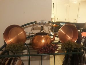 Faux Copper tea pot and 2 pans fake grapes included if you want them for Sale in Amarillo, TX