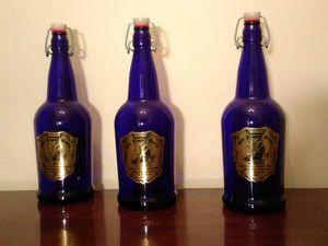 🐉 3 Olde Dragons Breath Wizards Ale Cobalt Blue Bottles for Sale in Oklahoma City, OK