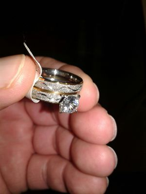2 pc wedding ring cubic diamond set for Sale in Jasper, AL