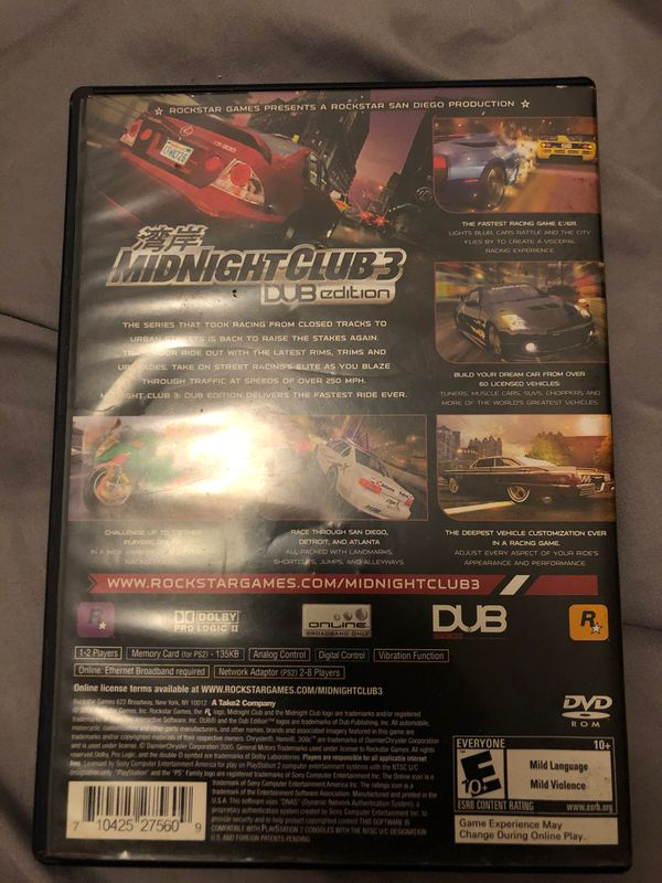 PS 2 Midnight club three dub edition
