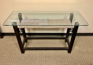 Console table with glass top and carved stone shelf for Sale in Houston, TX