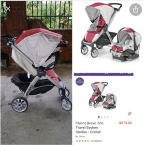Chicco Bravo Trio Travel System stroller orchid for Sale in Tracy, CA