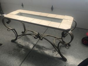 Glass and tile top console table with metal/iron legs for Sale in Tracy, CA