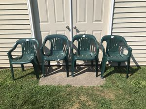 Plastic green outdoor stackable chairs(new) for Sale in Warwick, PA