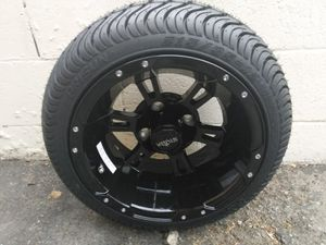 "Golf cart rims and tires 12"" gloss black on 215/35-12 tires for Sale in HUNTINGTN BCH, CA"