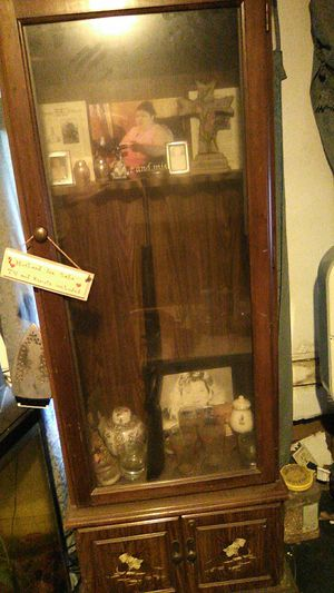 Antique cabinet for $50 gun cabinet for $50 and a Xbox 360 with webcam controller and 3 games for $100 for Sale in Springville, AL