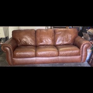 Good condition- Excellent Quality Studded Leather Couch for Sale in Beaverton, OR