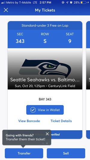 Two Seahawks tickets for this weekend!! for Sale in Tacoma, WA