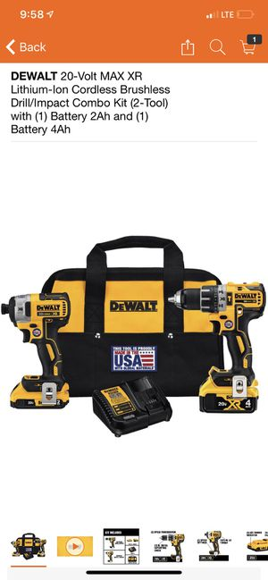 DEWALT 20-Volt MAX XR Lithium-Ion Cordless Brushless Drill/Impact Combo Kit (2-Tool) with (1) Battery 2Ah and (1) Battery 4Ah for Sale in New York, NY