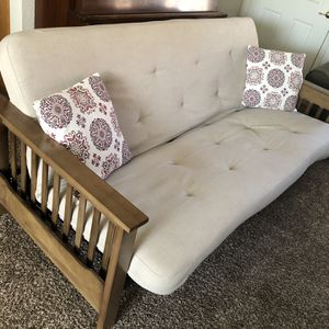 Futon With Solid Wood Frame And Side Shelf for Sale in Visalia, CA