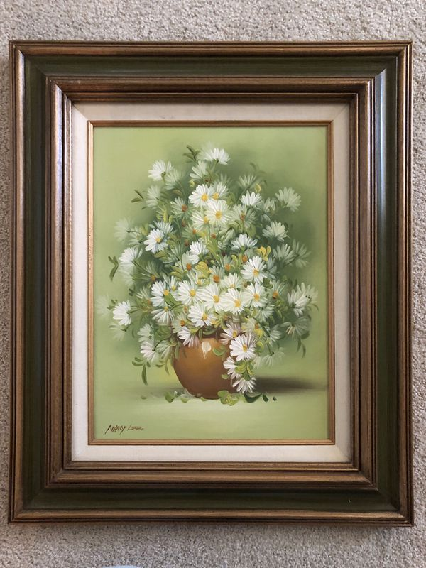 Framed Oil Painting of Daises in Vase on Canvas by Nancy Lee. 20 inches wide by 24 inches tall.