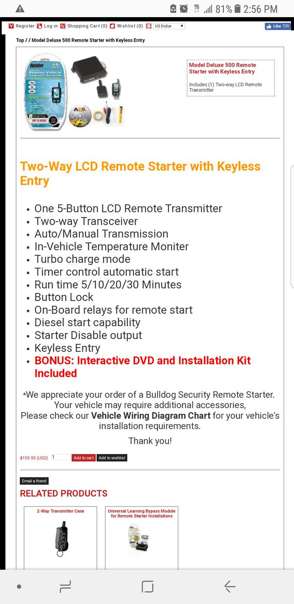 Bulldog Security 2-Way Remote Vehicle Starter