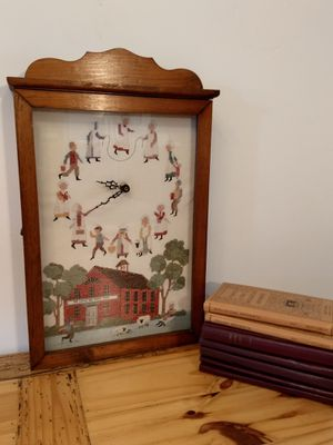 Antique Clock Box With Red School House Cross stitch for Sale in Santa Maria, CA