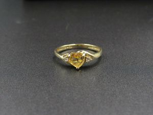 Size 7.25 10K Gold Citrine & CZ Diamond Heart Band Ring Vintage Estate Wedding Engagement Anniversary Gift Idea Beautiful Elegant Unique for Sale in Bothell, WA