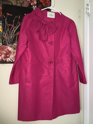 Kate spade New York hot pink bow coat size S womens for Sale in Beaumont, CA