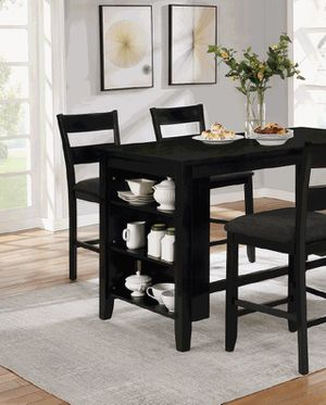 Black counter height table set with kitchen shelves for Sale in Long Beach, CA