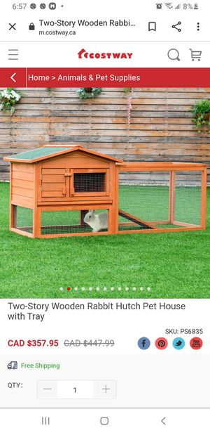 Two-Story Wooden Rabbit Hutch Pet House with Tray for Sale in Riverside, CA