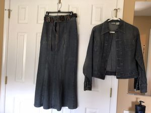 Small size long jean skirt and jacket set for Sale in Germantown, MD