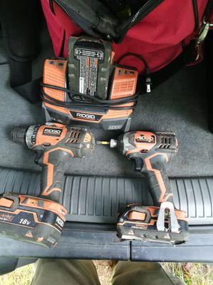 Ridgid impact gun and drill (3 batteries) for Sale in Poland, ME