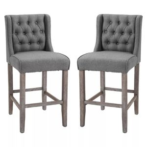 2 Tufted Bar Stool Dining Chairs - Grey for Sale in Los Angeles, CA