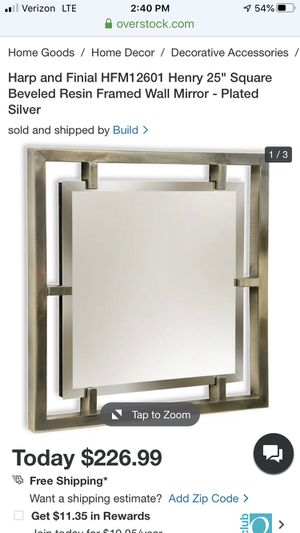 "Harp and Finial HFM12601 Henry 25"" Square Beveled Resin Framed Wall Mirror - Plated Silver for Sale in Winter Park, FL"