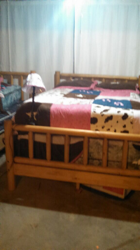 Custom Log Bed Frame + Quilted Matt and boxspring