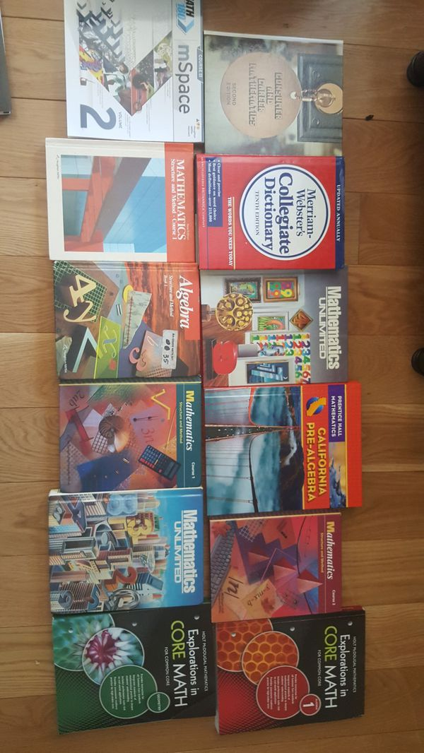 Middle school Math (pre algebra, algebra, geometry) & History books