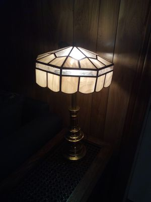 Vintage stiffel brass lamp with antique Tiffany style stained glass lamp shade/24 inches high/shade 13 inches in diameter for Sale in Taylor, MI
