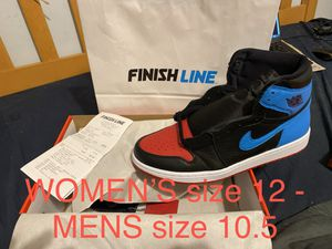 JORDAN 1 UNC NC TO CHI WOMEN'S size 12 - MEN'S size 10.5 - WITH FINISHLINE RECEIPT for Sale in Glendale, CA