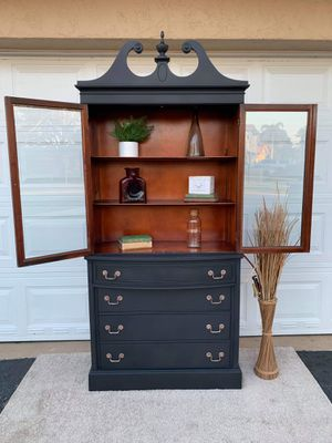 China cabinet buffet dining room hutch accent piece server bar shelf bookshelf display glass doors kitchen cabinet chest of drawers antique wood maho for Sale in Fort Lauderdale, FL