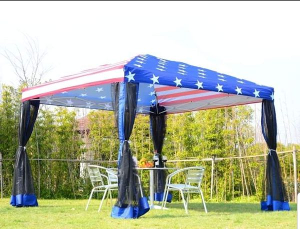10' x 10' Flag Canopy Gazebo Tent Party Shelter Garden Outdoor Pop Up Easy Set Up