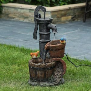 brand New Polyresin Whiskey Barrel and Water Pump Outdoor Patio Cascade Fountain for Sale in Walnut, CA
