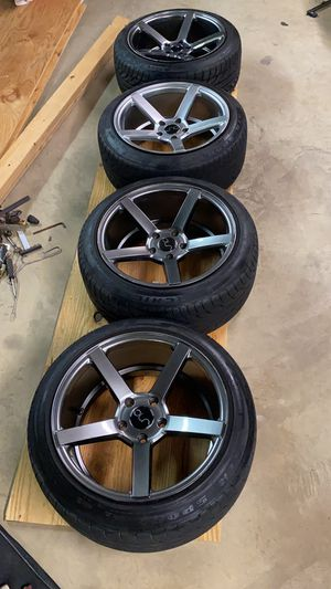 JNC glossy grey rims and tires for Sale in Gaithersburg, MD