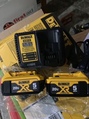 Two battery 5.0 AH and charger Dewalt. for Sale in San Jose, CA