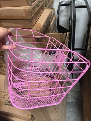 NEW 14x10x10 inches tall bicycle basket pink color for bike beach cruiser girl bikes for Sale in Covina, CA
