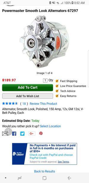 Used, Powermaster Alternator, Smooth Look, Polished, 150 Amp, 12v, GM 12si, V-Belt Pulley, Each for Sale for sale  Riverside, CA