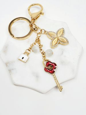 Bling keychain bagcharm with red key, clover, lock charm for Sale in Baldwin Park, CA