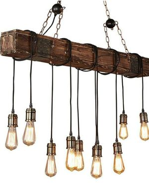 10 lights wood beam chandeliers/pendant light in vintage industrial style for Sale in Pico Rivera, CA