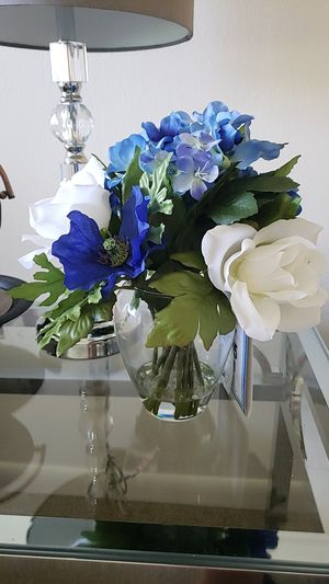 NEW - VASE BLUE AND WHITE FLOWERS from Michael's Store for Sale in Pompano Beach, FL