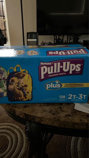 128 Never opened diapers pull-ups 2T-3T Free backpack buzz light-year inside box for Sale in La Mesa, CA