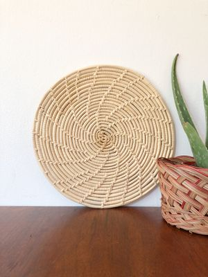 Round wicker trivet or basket wall decor / eclectic boho style for Sale in Hillsboro, OR