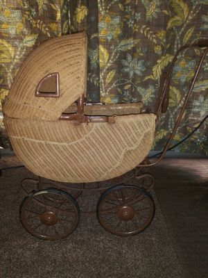 Antique Wicker Doll Buggy Carriage for Sale in West Covina, CA